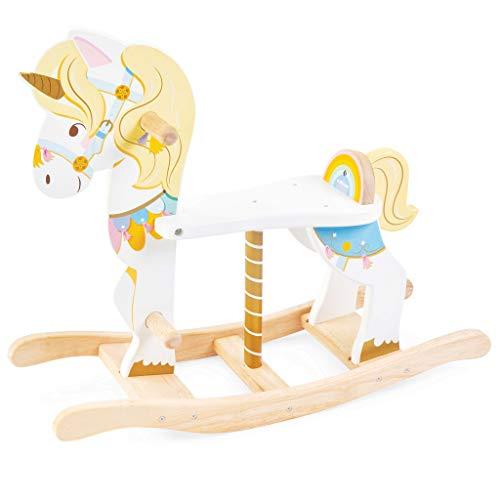 Le Toy Van- Bella giostra a Dondolo in Legno Color Pastello sostenibile, a Forma di Unicorno Carosello, PL134