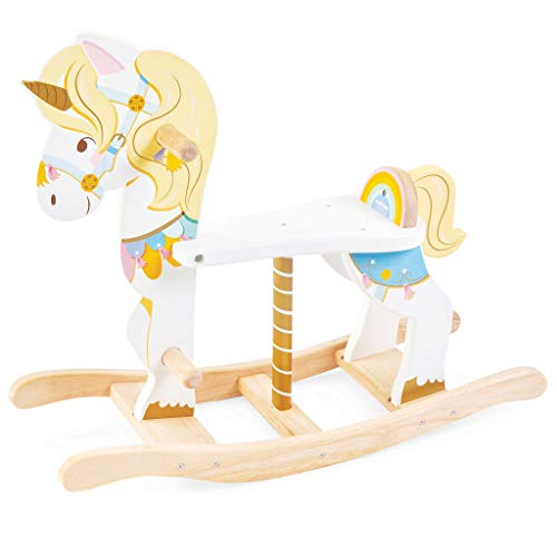 Le Toy Van - Petilou Wooden Multi-Sensory Colourful Wooden Pastel Rocking Unicorn Carousel Toy For Toddlers | Unisex Rocking Horse - Suitable For 1 Year Old +