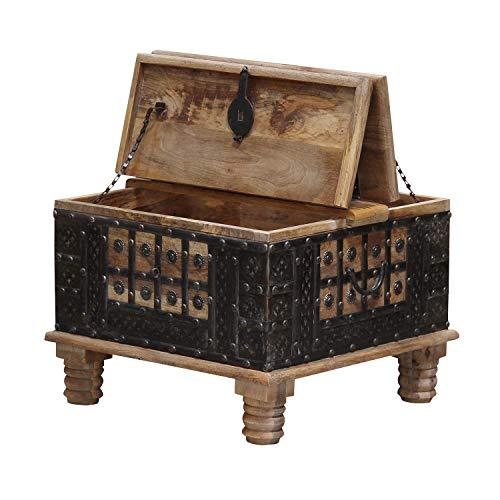 Casa Moro Orientalischer Truhentisch Hadis 60x60x40 (BxTxH) aus Echtholz Mango mit Metallapplikationen verziert | Orient Holz-Truhe Vintage Couchtisch mit klappbarer Tischplatte | CAC3201070 - 2