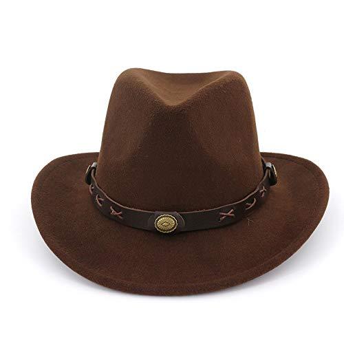 Jiangjinland heren vrouwen wolvilt fedoras met riem Western Cowboy vorm hoed brede rand trilby hoed dames heren hoed 56-58 coffee