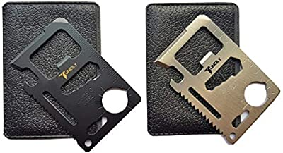 Credit Card Survival Tool - 11 in One Multipurpose Beer Bottle Opener Portable Wallet Size Pocket Multitool by Tuncily