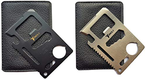 2 Pack (Black and Silver) Credit Card Survival Tool - 11 in One Multipurpose Beer Bottle Opener Portable Wallet Size Pocket Multitool Valentine GIfts for Men