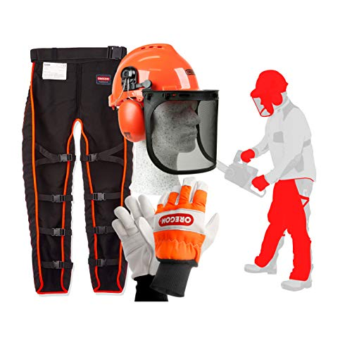 An image of the Oregon Type A Chainsaw Safety Clothing Kit with Universal Leggings/Seatless Trousers, Gloves and Helmet