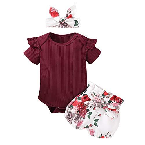 Neugeborenes Baby- Unisex Schlafsack Strampler Baby Baby Rüschen Solid Romper Bodysuit + Blumenshorts + Stirnband Outfits ODRD Mädchen Jungen Body Babyschlafsack