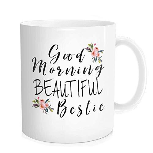 Waldeal Good Morning Beautiful Bestie Coffee Mug, Best Friend Gift, Friendship Teacup, White Ceramic 11 OZ