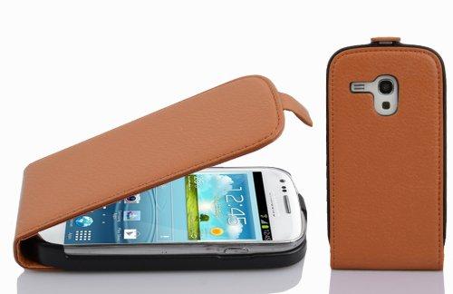 Cadorabo Coque pour Samsung Galaxy S3 Mini en Noisette Marron - Housse Protection en Style Flip en Similicuir Structuré - Etui Poche Folio Case Cover