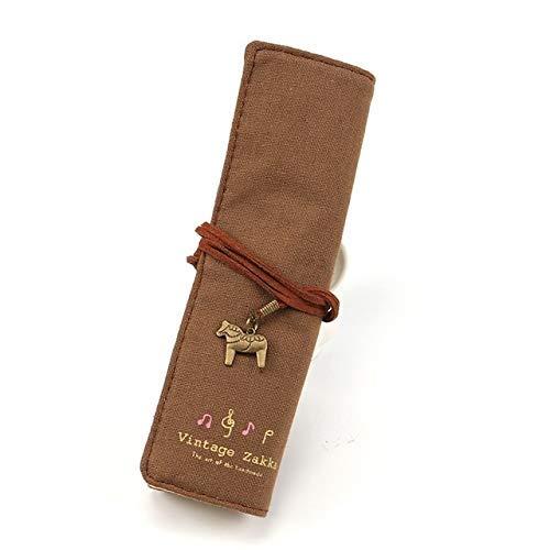HYZXK Lindo Soporte para Bolsa de Lona, papelería Enrollable, Bolsa para lápices, Suministros de papelería (Beige)/m (Color: marrón)