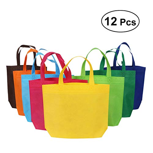 YeahiBaby Bolsas de Tela no Tejidas   Tienda de comestibles Goodie Bolsas de Regalo - 26 x 33 cm, 12 Piezas