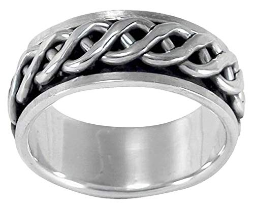 MENS 8MM Wide Celtic Infinity Knot Braid Sterling Silver Spinner/Spinning/Spin Band Ring - 925 Sterling Silver - Meditation Worry Stress Ring - Size Y