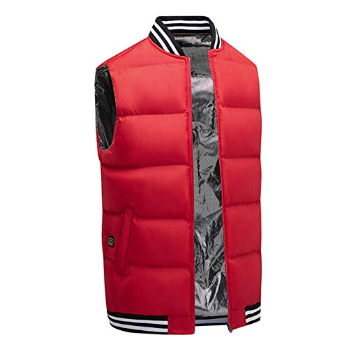 MNSSRN Smart Verwarmd vest,Winter Warming Vest,Outdoor Warming Jas, Multi-Positie Verwarming, USB-interface, Verwarming Gilet Jas, Rood, 3XL
