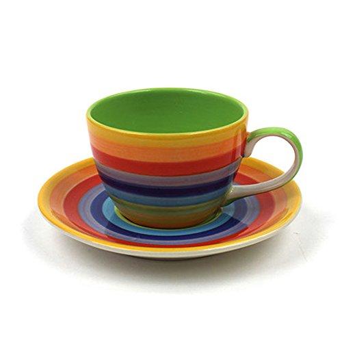 Windhorse in ceramica a strisce arcobaleno Tazza da tè/caffè, piattino & Set Cup 200 ml 6 cm, altezza: 8 cm, diametro 14 cm, piattino diametro di 14 cm, dipinto a mano