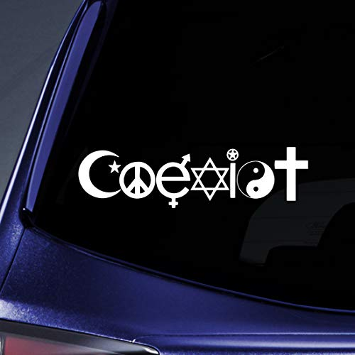 Koexistieren-Peace-Vinyl Car Decal Sticker#1769/Vinyl Color: White