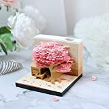 Memo Pads Kawaii Memo3D Memo Pad with Lights & Pen Holder,Funny Cute 3D Paper Carving Art Notepad DIY Building Block 3D Kawaii Sticky Notes Omoshiroi Block Creative Post Notes for Office/Reading Room