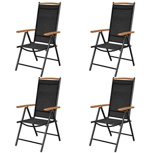 Festnight Juego Sillas Plegables de Aluminio y Textilene para Jardín, Terraza, Patio, Playa, Respaldo Reclinable (en 7 Posiciones), Negro 58 x 65 x 109 cm 4 uds