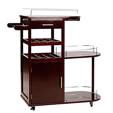 Topeakmart Kitchen Moving Serving Bar Cart Wood Entertainment Cart Wine Beverage Rack,Brown