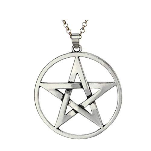 Berrywho Los Hombres de Acero Inoxidable Collar de Plata del Tono Pentagram Estrella Colgante de Cadena