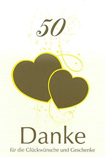 Danksagungskarten goldenen Hochzeit ohne Innentext Motiv goldene Herzen 10 Klappkarten DIN A6 im Hochformat mit weißen Umschlägen im Set Einladung Goldhochzeit 50 Jahre Retro Vintage mit Kuvert K41