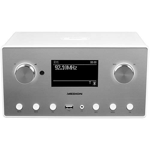 MEDION P85080 WLAN Internet-Radio (DAB+, UKW, Bluetooth, USB, Spotify, AirPlay, Multiroom, AUX) weiß