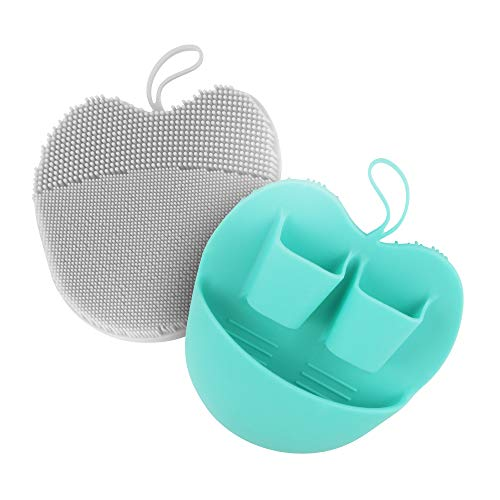 INNERNEED Manual Silicone Face Brush Facial Scrubber Pads for Cleansing, Exfoliating, Anti-Aging Face Massage, Handheld for Sensitive and all Kinds of Skin (Pack of 2)