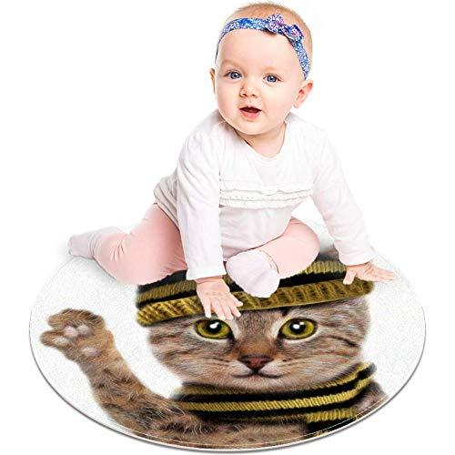 Lindo gato lleva sombrero y bufanda, diseño de dibujos animados, tapete antideslizante de 23.6 pulgadas, alfombra redonda para dormitorio de niños, habitación de bebé, sala de juegos, guardería