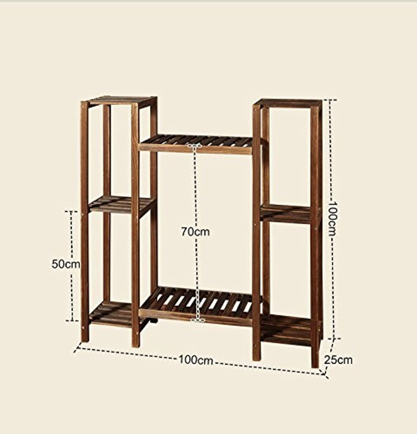 Flower Stand Shelf Multilayer Antiseptic Woody Flower Pots Shelf Easy Assembly Plant Display Rack for Balcony Living Room