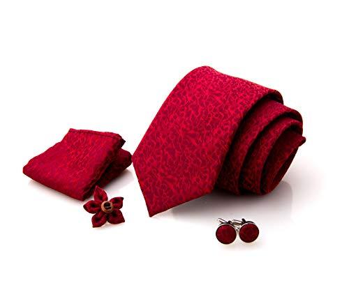 First Impact - Corbata de hombre + gemelos camisa hombre + funda de bolsillo para hombre + pin chaqueta hombre (juego de corbata para hombre 4 piezas) Caja regalo hombre rojo Bordeaux Ceremonia
