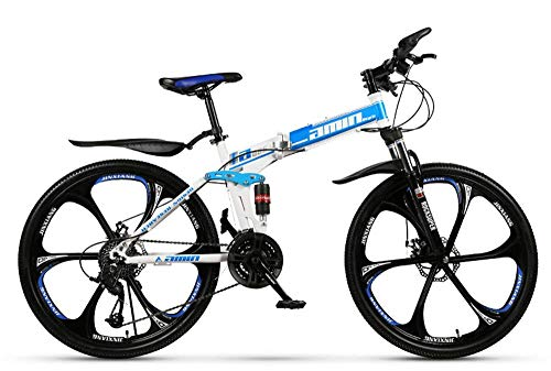 KAUTO Adult Mountain Bike, Folding High Carbon Steel Outroad Bicycles, 26'' 21-30Speed Bicycle Full Suspension MTB Gears Dual Disc Brakes Mountain Bicycle B 21 Speed