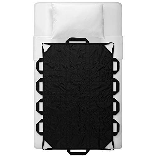 """Bed Positioning Pad with Reinforced Handle, 60"""" X 40"""" MultipurposeWaterproof Transfer Sheet for Turning, Lifting & Sliding, Reusable Washable Patient Positioning Sheet for Bedridden, Caregiver, Black"""