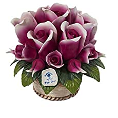Capodimonte Handmade Basket Rosebuds In Shining Porcelain With Gold Trim Made In Italy By Unionporcelain With Napoleon Registered Trademark