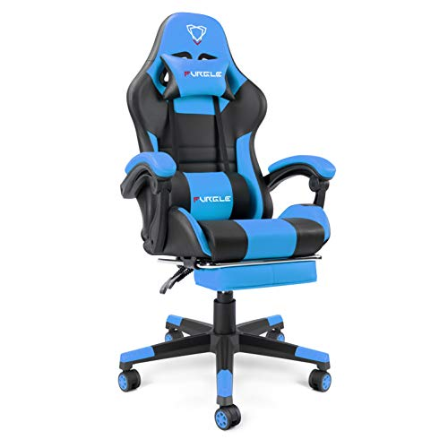 Furgle Gaming Chair Racing Style High-Back Office Chair w/PU Leather and Adjustable Armrests Executive Ergonomic Swivel Video Game Chairs with Rocking Mode & Headrest and Lumbar Support (Black/Blue1)
