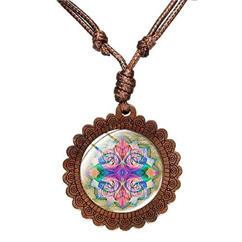 Budismo Mandala Colgante Arte Patrón Collar Hecho A Mano Redondo Cristal Cúpula Gargantilla Collares Mujeres Mandala Joyería Espiritual