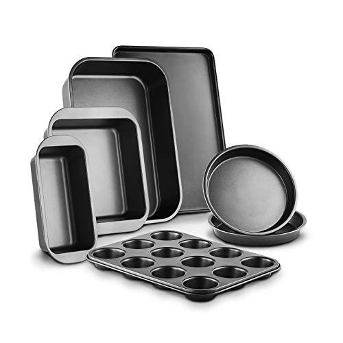 Creatif 7-Piece Nonstick Bakeware Set Of Baking Pans, Baking Sheets, Cookie Sheets, Cake Pan, Muffin Pan and Bread Pan Thick Carbon Steel, Kitchen Oven Safe, Wide Handle
