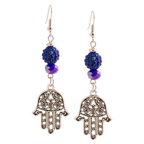 Geralin Gioielli orecchini argento blu motivo mano di Fatima orecchini da donna Hamsa Vintage