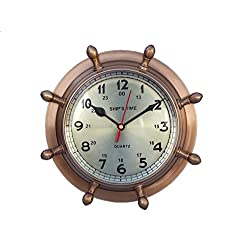 Hampton Nautical Antique Brass Double Dial Porthole Wheel Clock, 8