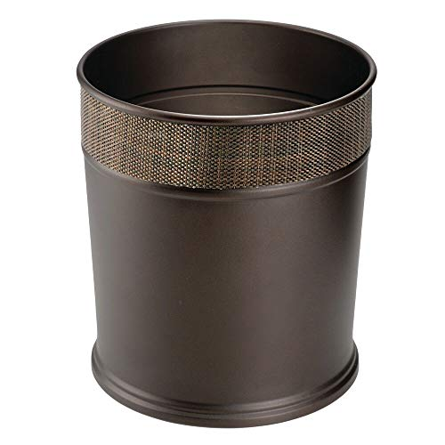 mDesign Decorative Round Small Trash Can Wastebasket, Garbage Container Bin for Bathrooms, Powder Rooms, Kitchens, Home Offices - Steel in Bronze Finish with Woven Textured Accent
