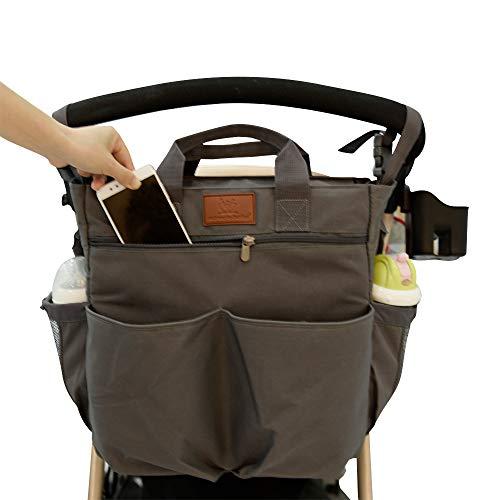 Miracle Baby Bolsa de Paseo de Bebé para Mamá .bolsa para cochecito Portátil Bolso Cambiador para Carrito bebe Gran capacidad-33 * 36 * 13cm(Gris puro)