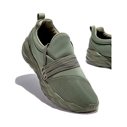HaoLin Zapatillas De Deporte Transpirables con Cordones para Mujer Zapatos para Caminar Zapatos Deportivos con Punta Redonda Antideslizantes Casuales para Mujer,Green-38
