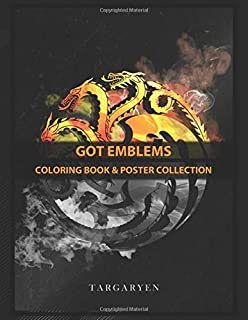 Coloring Book & Poster Collection: Got Emblems Fire And Blood Emblem Inspired Fantasy