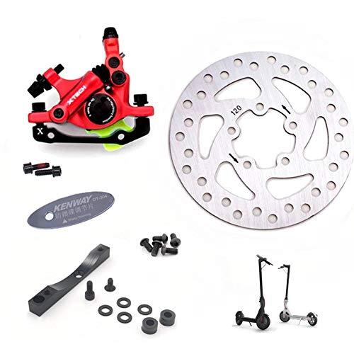 EWheel | Pinza de Freno Xtech + Soporte + Disco de Freno 120mm + Alineador.| Kit Completo para patinetes eléctricos Xiaomi M365, 1S, Essential, Pro y Pro2. (Rojo)