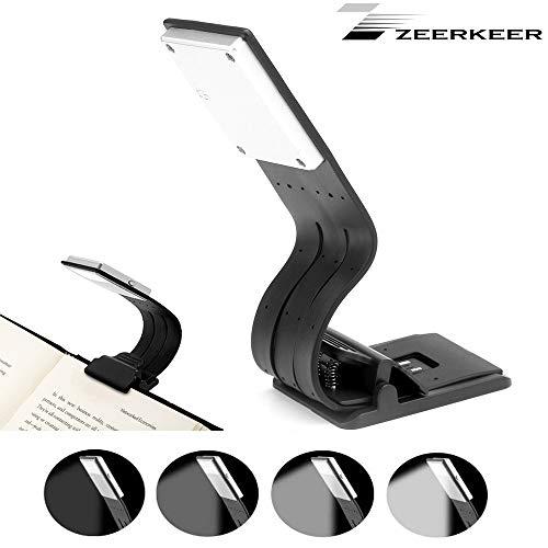 Zeerkeer Clip op bureaulamp, 4-level verstelbare helderheid LED Clip Lamp USB Lezen Licht Clip op Bureau, Bed, Headboard, Werkbank (zwart)