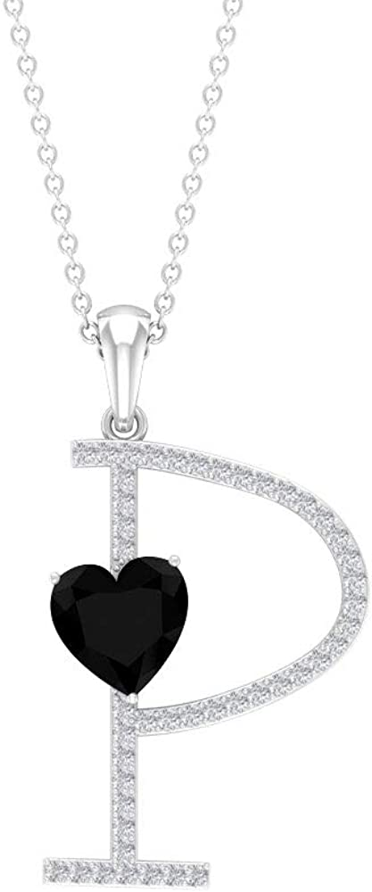 7 MM Lab Created Black Diamond Pendant, 1/4 CT Moissanite Initial Pendant, Letter P Pendant Gold