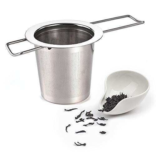 Fablcrew Teefilter, Edelstahl, Teesieb, mit feinem Loch und Griff, für Tasse, Teekanne, 1 Stück