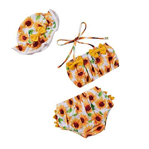 Yccutest Toddler Girls Swimsuits Baby Girl Bikini Sets Swimwear 3Pcs Summer Bathing Suit Tankini Tops + Shorts + Hat (A-Yellow Sunflower, 3-6 Months)