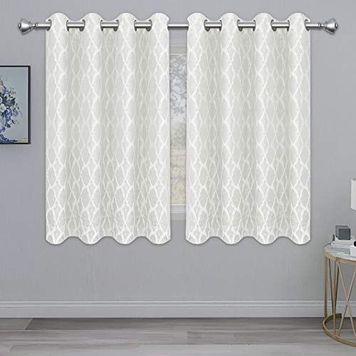 PureFit Jacquard Blackout Curtains for Bedroom, Cold/Heat/Sun Blocking and Noise Reduction Thermal Insulated Window Drapes, White, 52 x 63 inch Length, Set of 2 Grommet Curtain Panels