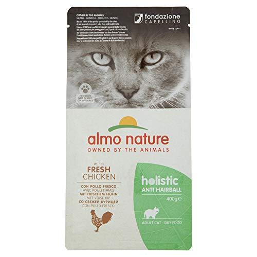 almo nature Holistic Anti-Hairball Adult Cat Cibo Secco Completo con Pollo Fresco, 400 g
