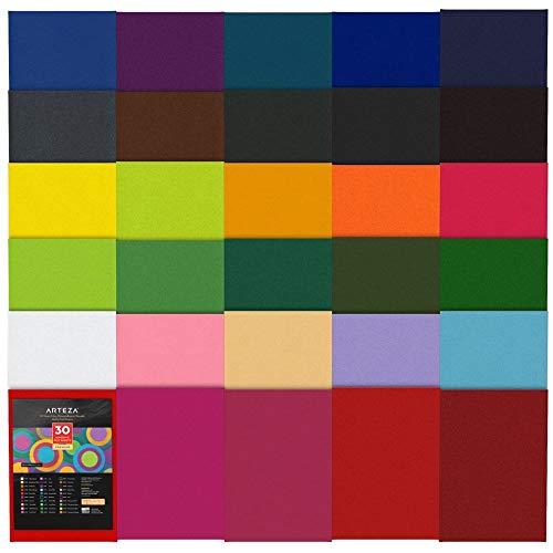 Arteza Fieltro adhesivo | 21 x 30 cm | Grosor 1 mm | Pack de 30 | Hojas de fieltro autoadhesivos flexibles de colores surtidos | para forrar, bricolaje, arte y manualidades