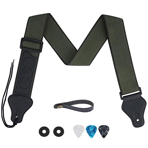 tifanso Guitar Strap, Soft Cotton Guitar Straps With 3 Pick Holders, Strap Button Headstock Adaptor, 1 Pair Strap Locks and 3 Guitar Picks Set For electric/Acoustic Guitar (Army Green)