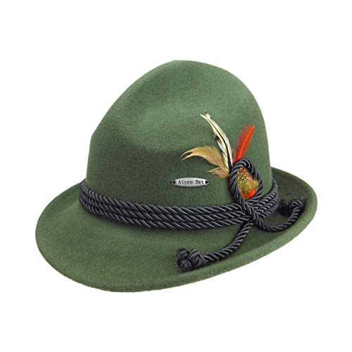 Traditional Bavarian German Wool Fedora Green Hat with Rope & Deluxe Feather by E.H.G.  Large Hat for Men and Hat for Women