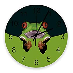 Prime Leader Wall Clock Non-Ticking 12 Inch Round Wooden Clock Cute Red-Eyed Tree Frog Silent Battery Operated Clock Decorative Living Room Hanging Clocks