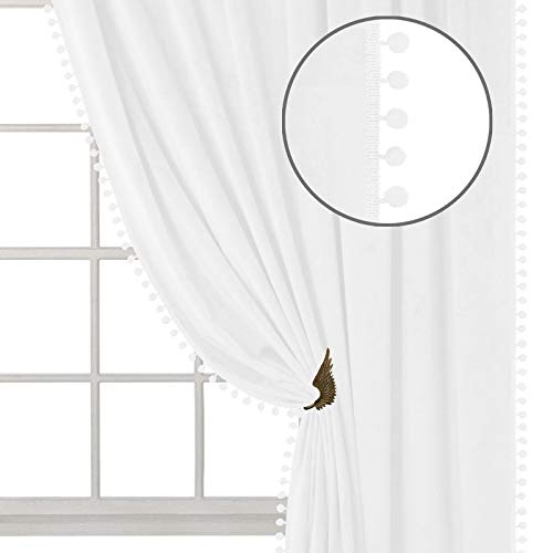 ZHAOFENG Pom Pom Velvet Curtains with Rod Pocket and Back Tab, Blackout SoftLuxury ThickSunlight Dimming Heat InsulatedPrivacy Protect for Officeand Living Room, 2 Panels ( White, W52 x L84 Inch )
